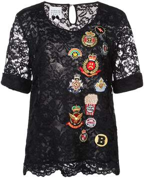Edward Achour Paris embroidered patch blouse