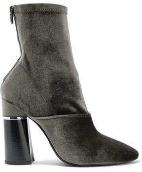 3.1 Phillip Lim Kyoto Stretch-velvet Sock Boots - Sage green
