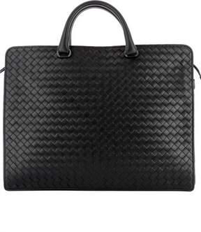 Bottega Veneta Men's Black Leather Briefcase.