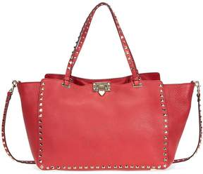 Valentino Rockstud Medium Leather Tote- Rosso