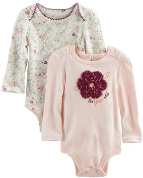 Baby Starters Baby Girl 2-pk. Flower Print & Be-You-Tiful Bodysuits