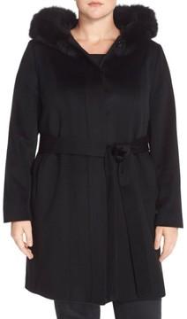 Fleurette Plus Size Women's Wool Wrap Coat With Genuine Fox Fur