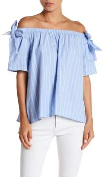 Blvd Off-The-Shoulder Bow Tie Stripe Sleeve Blouse