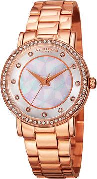 Akribos XXIV Womens White Dial Rose Gold-Tone Bracelet Watch
