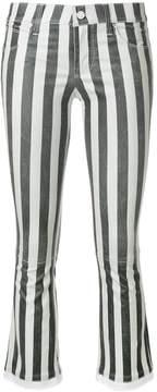 RtA Kiki Striped Flare Leather Cropped Pants