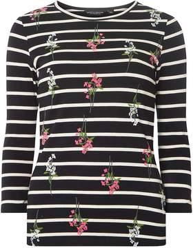 Dorothy Perkins Navy Floral Print Striped Top