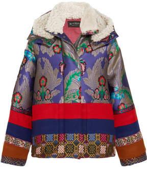 Etro Oversized Shearling-trimmed Jacquard And Wool-felt Jacket - Blue