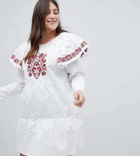 Fashion Union Plus Embroidered Smock Dress With Exaggerated Sleeves