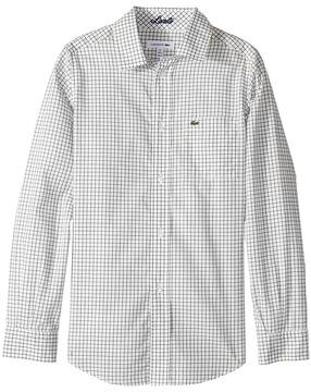 Lacoste Kids Long Sleeve Poplin Check Shirt (Little Kids/Big Kids)
