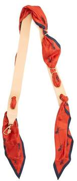 Chloé Silk Scarf Entwined Leather Bag Strap - Womens - Red Multi