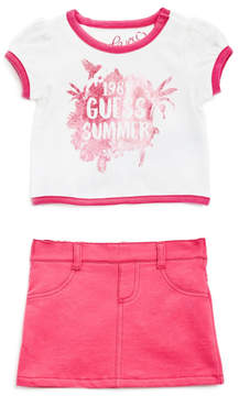 GUESS Short-Sleeve Graphic Tee and Shorts Set (0-24M)