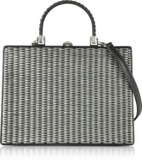 Rodo Black and Silver Woven Leather Squared Satchel Bag