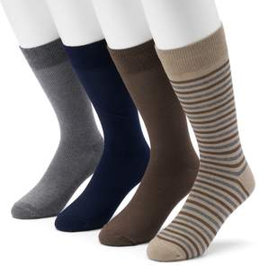 Croft & Barrow Men's 4-pack Striped & Solid Crew Socks