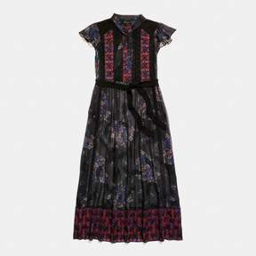 Coach New YorkCoach Mixed Print Lacework Dress With Necktie
