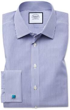 Charles Tyrwhitt Classic Fit Non-Iron Bengal Stripe Navy Cotton Dress Shirt French Cuff Size 15/33