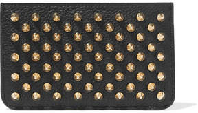 Christian Louboutin Panettone Spiked Textured-leather Pouch - Black