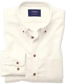Charles Tyrwhitt Extra Slim Fit Button-Down Non-Iron Twill Off-White Plain Cotton Casual Shirt Single Cuff Size XXL