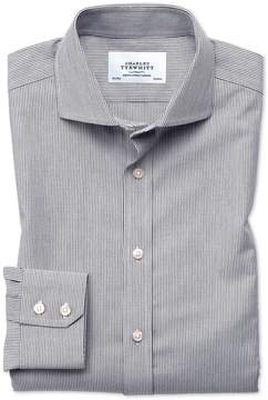 Charles Tyrwhitt Slim Fit Spread Collar Non-Iron Fine Stripe Charcoal Cotton Dress Shirt Single Cuff Size 15.5/33