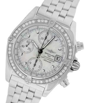 Breitling Chrono Cockpit A13357 Diamond Mother Of Pearl Chronograph Stainless 39mm Unisex Watch