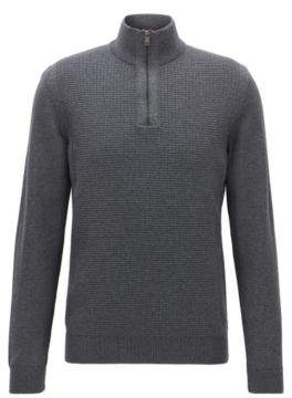 BOSS Hugo Waffle-Knit Wool Sweater Nacello S Grey