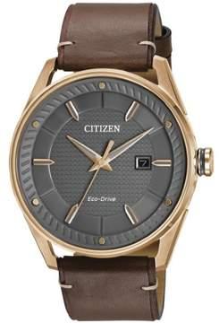 Citizen CTO BM6983-00H Grey / Brown Leather Analog Eco- Drive Men's Watch