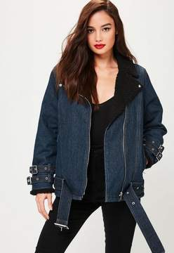 Missguided Petite Navy Denim Borg Lined Aviator Jacket
