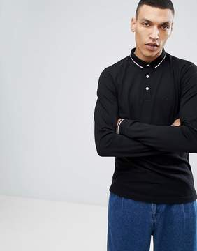 Lindbergh Long Sleeve Pique Polo Shirt in Black