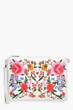 boohoo Lisa All Over Embroidered Denim Clutch
