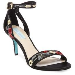 Betsey Johnson Madox Embroidered Stiletto Sandals