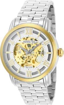 Invicta Men's Objet D Art 50m Automatic 3 Hand Silver Skeleton Dial Watch 22627