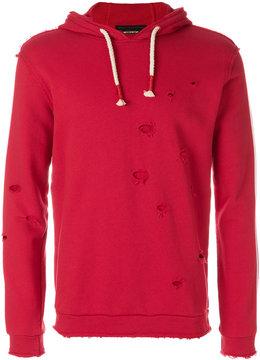Daniele Alessandrini stripe detail distressed hoodie
