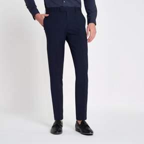 River Island Mens Dark blue stretch skinny fit suit pants