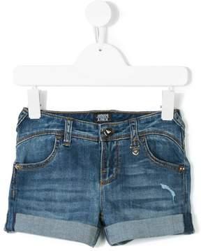 Emporio Armani Kids rip-detail denim shorts