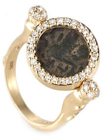 Coomi Antiquity 20k Flip Coin Ring with Diamonds