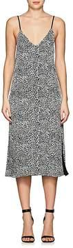 Amiri Women's Leather-Strap Leopard-Print Silk Slipdress