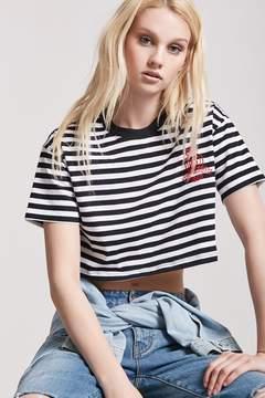 Forever 21 Stripe Danger Girls Graphic Crop Tee
