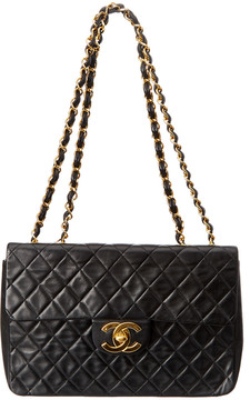 Louis Vuitton Chanel Black Quilted Lambskin Leather Maxi Single Flap Bag - ONE COLOR - STYLE