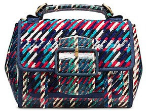 Tory Burch Sawyer Woven Satchel - LIBERTY RED MULTI DOGTOOTH - STYLE
