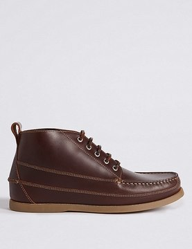 Marks and Spencer Leather Moccasin Lace-up Chukka Boots