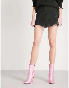 Mo&Co. High-rise distressed denim skirt