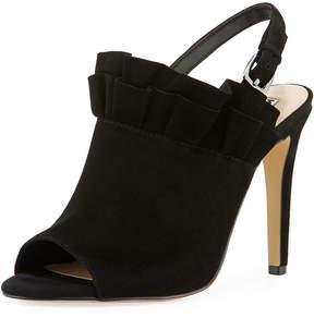 Karl Lagerfeld Paris Lanka High-Heel Suede Ruffle Sandal