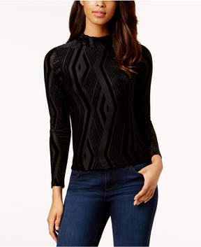 Bar III Mock-Neck Burnout-Print Top, Created for Macy's