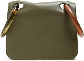 Roksanda Neneh Wooden Handle Leather Clutch - Womens - Green Multi