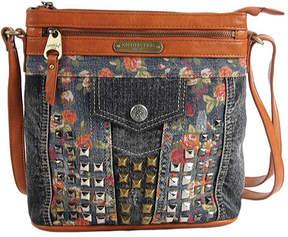 Nicole Lee Women's Rikky Floral Studded Denim Cross Body Bag