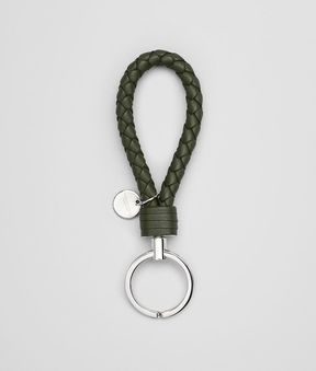 Bottega Veneta Key Ring In Moss Intrecciato Nappa Leather