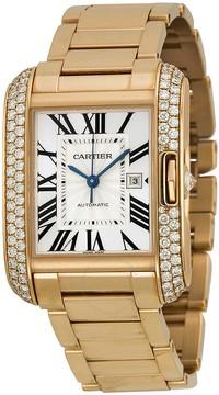 Cartier Tank Anglaise Silver Dial 18kt Pink Gold Men's Watch