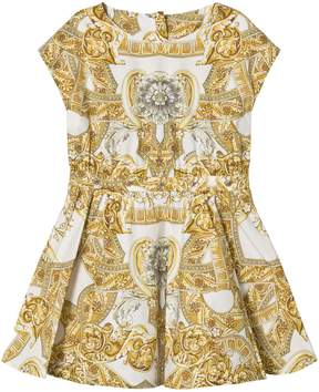 Versace White and Gold Baroque Print Dress