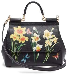 Dolce & Gabbana Sicily Medium Daffodil Print Dauphine Leather Bag - Womens - Black Multi