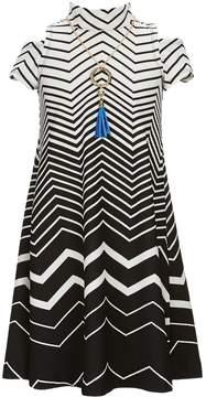 Bonnie Jean Big Girls 7-16 Cold-Shoulder Chevron-Stripe A-Line Dress