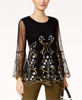 Alfani Embroidered Illusion Top, Created for Macy's